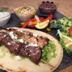 Chicken and beef kabobs with build your own Mediterranean options